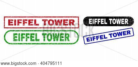 Eiffel Tower Grunge Seal Stamps. Flat Vector Grunge Seal Stamps With Eiffel Tower Title Inside Diffe