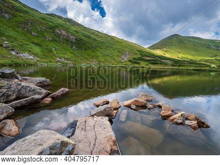 Summer Nesamovyte Lake Landscape, Chornohora Ridge, Carpathian Mountains, Ukraine