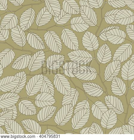 Seamless Pattern With Elm Tree Branches And Leaves On Dark Beige Background For Surface Design And O