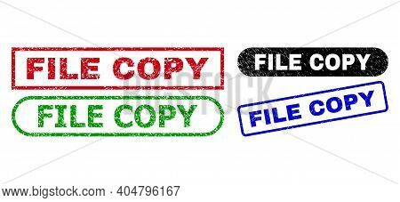 File Copy Grunge Seal Stamps. Flat Vector Distress Stamps With File Copy Tag Inside Different Rectan
