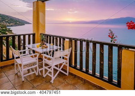 Sunset Balcony Apartment Balconyy Greece Condo. Europe
