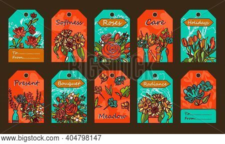 Tags Set With Flowers. Bunches In Vases, Tulips, Roses Vector Illustrations With Text On Red And Blu