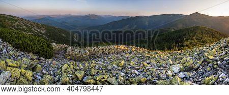 Summer Evening Carpathian Mountain Stony Slope Panoramic View In Last Sunset Sunlight. Vysoka Mounta