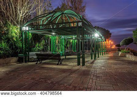 Pergola On Louis Promenade Near The Bahai Garden At Night. Haifa. Israel