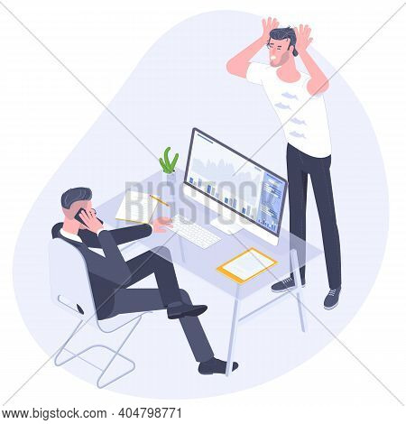 Professional Work Conflict. Workers Argue Each To Other. Manager Dissatisfied By Employee Work Resul