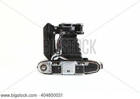 Old Soviet Medium Format Rangefinder Camera Moskva-2, Released 1953 On White Background. Camera Mosk