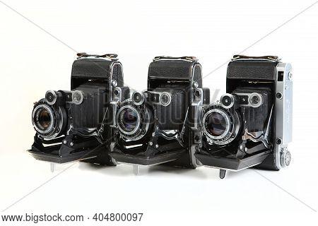 Old Soviet Medium Format Rangefinder Camera Moskva-2, Moskva-4 And Moskva-5, Released 1953, 1956, 19
