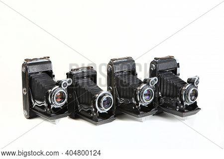 Old Soviet Medium Format Rangefinder Camera Moskva-2, Moskva-3, Moskva-4 And Moskva-5, Released 1951