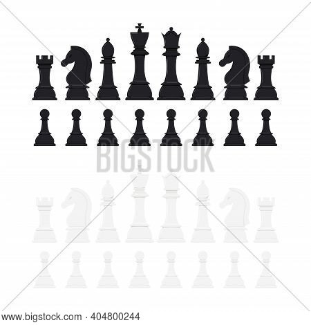 Chess Pieces Vector Icon Set Isolated On White Background. Black And White Chess Figures In A Raw -