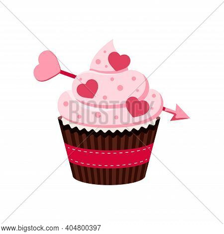 Valentines Day Cupcake Icon Isolated On White Background. Cute Sweets Food. Party Homemade Muffin Wi