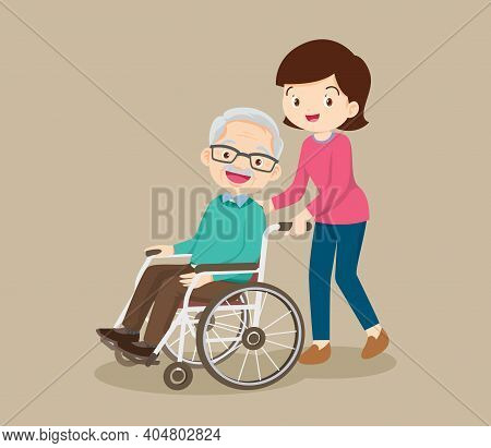 Young Woman Strolling With Elderly Man In Wheelchair, Nursing Care For Disabled People And Elderly C