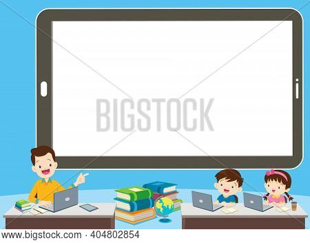 Children Online Learning Concept ,learning Technology ,e-learning Online Education And Remote Study