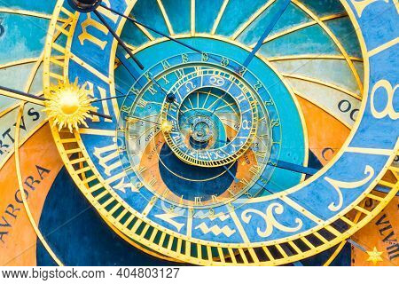 Droste Effect Background Based On Prague Astronimical Clock. Abstract Design For Concepts Related To