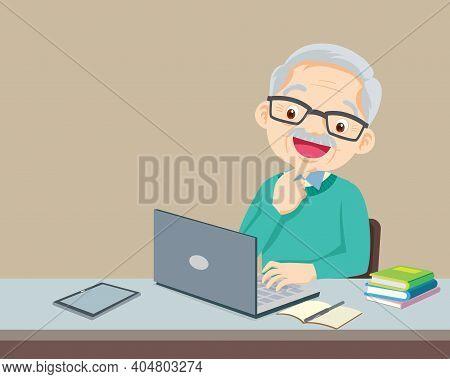 Elderly Man Using A Laptop Computer,portrait Senior Man Using Laptop For Working At Home,elderly Per