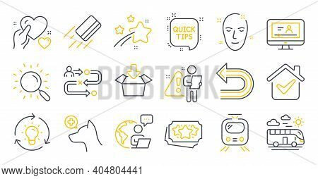 Set Of Business Icons, Such As Hold Heart, Search, Train Symbols. Veterinary Clinic, Get Box, Loyalt