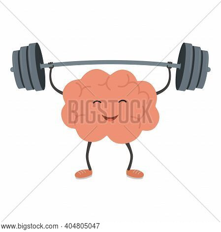 Strong Powerful Brain Holding Heavy Barbell. Intelligence, Mind, Imagination, Creativity, Knowledge