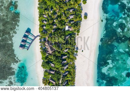 Top View Aerial View On Maldives Island, Ari Atoll. Tropical Islands And Atolls In Maldives From Aer