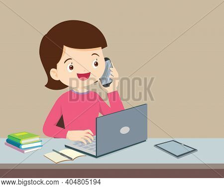 Woman Using A Computer And Mobile Phone Calling, Woman Using Computer While Talking On Landline Phon