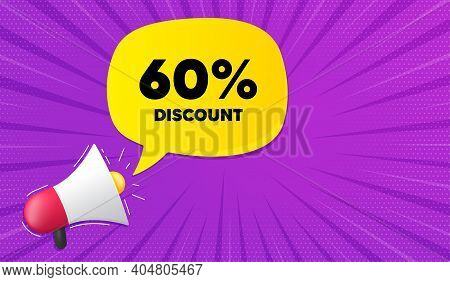 60 Percent Discount. Background With Megaphone. Sale Offer Price Sign. Special Offer Symbol. Megapho