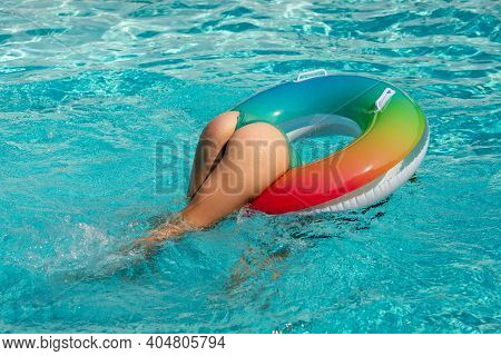 Summer Vacation. Sexy Woman Ass. Girl Butt Buttocks. Having Fun At Aquapark. Swiling Girl With Infla