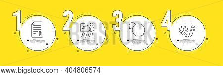 Presentation, Messenger And Attachment Line Icons Set. Timeline Process Infograph. Engineering Sign.