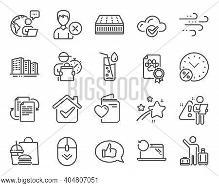 Line Icons Set. Included Icon As Bureaucracy, Mattress, Airport Transfer Signs. Scroll Down, Windy W