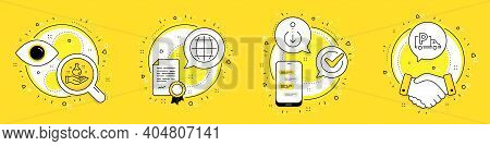 Globe, Chemistry Lab And Scroll Down Line Icons Set. Licence, Cell Phone And Deal Vector Icons. Truc