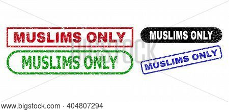 Muslims Only Grunge Seal Stamps. Flat Vector Scratched Seal Stamps With Muslims Only Caption Inside