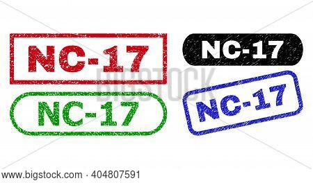 Nc-17 Grunge Seal Stamps. Flat Vector Grunge Stamps With Nc-17 Slogan Inside Different Rectangle And