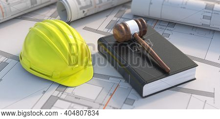 Construction, Labor Law Concept. Judge Gavel And Book On Project Blueprint Background. 3D Illustrati
