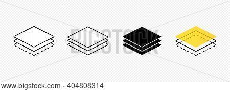 Layer Line Icon Set. Layout Sign. Carpet, Icon, Stack, Concrete, Floor