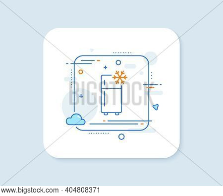 Single Chamber Refrigerator Line Icon. Abstract Square Vector Button. Fridge Sign. Freezer Storage S