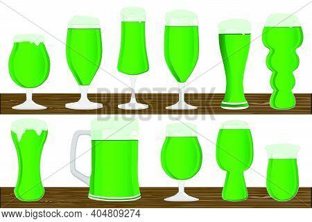 Illustration On Theme Irish Holiday St Patrick Day, Big Set Beer In Mug. St Patrick Day Consisting O
