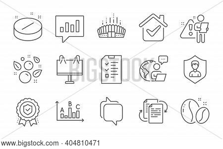 Bureaucracy, Medical Tablet And Security Agency Line Icons Set. Arena Stadium, Insurance Medal And C