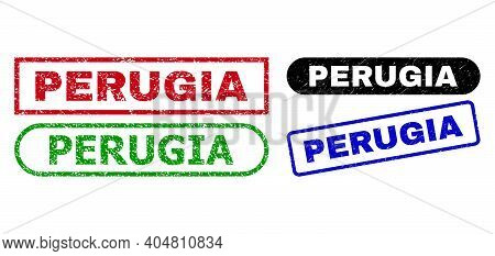 Perugia Grunge Seals. Flat Vector Grunge Seals With Perugia Message Inside Different Rectangle And R
