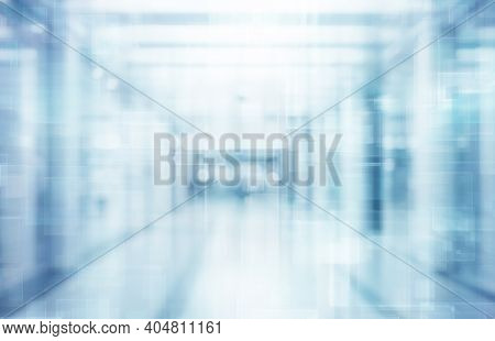 Abstract Defocused Blurred Technology Space Background, Empty Business Corridor Or Shopping Mall. Me