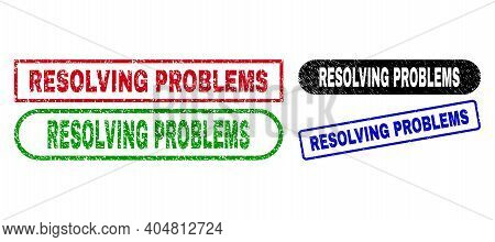 Resolving Problems Grunge Watermarks. Flat Vector Textured Seal Stamps With Resolving Problems Capti