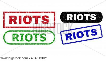 Riots Grunge Stamps. Flat Vector Grunge Stamps With Riots Phrase Inside Different Rectangle And Roun