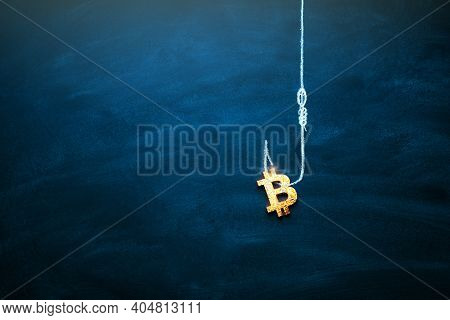 Bitcoin As A Bait. Blockchain Cryptocurrency Trap. Free Money Concept. Bitcoin On The Hook. Copy Spa