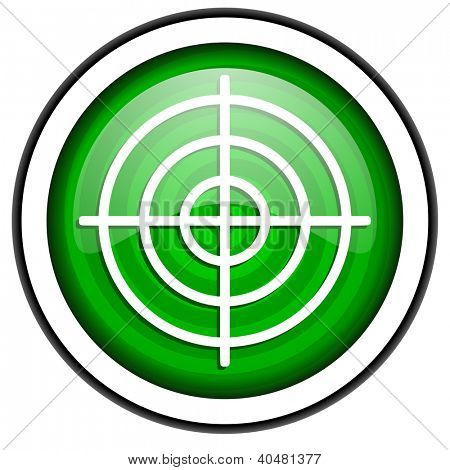 target green glossy icon isolated on white background