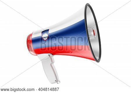Megaphone With Slovenian Flag, 3d Rendering  Isolated On White Background