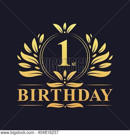 1st Birthday Design, Luxurious Golden Color 1 Years Birthday Celebration.