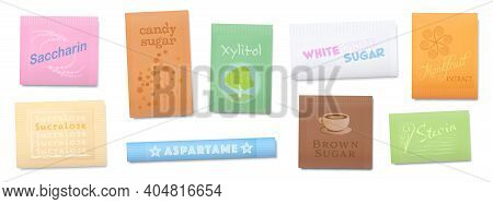 Natural Or Artificial Sweetener, Sugar Substitutes With Less Or Non Calories. Saccharin, Xylitol, Su