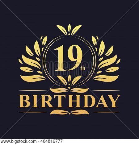 19th Birthday Design, Luxurious Golden Color 19 Years Birthday Celebration.