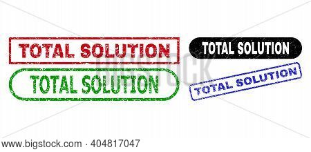 Total Solution Grunge Watermarks. Flat Vector Grunge Seals With Total Solution Title Inside Differen