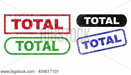 Total Grunge Watermarks. Flat Vector Scratched Watermarks With Total Tag Inside Different Rectangle