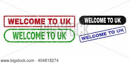 Welcome To Uk Grunge Stamps. Flat Vector Grunge Stamps With Welcome To Uk Phrase Inside Different Re