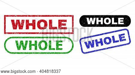 Whole Grunge Seals. Flat Vector Grunge Seals With Whole Caption Inside Different Rectangle And Round