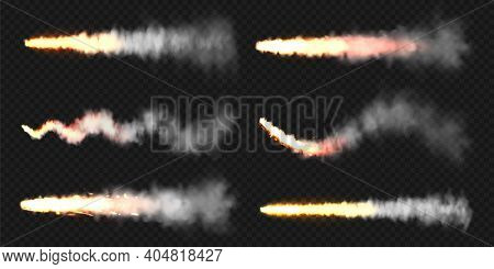 Realistic Space Rocket Launch Trails. Fire Burst, Explosion. Missile Or Bullet Trail. Jet Aircraft T