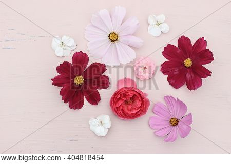 Spring Or Summer Styled Stock Photo. Feminine Composition With Pink Rose, Cosmos And Geranium Flower